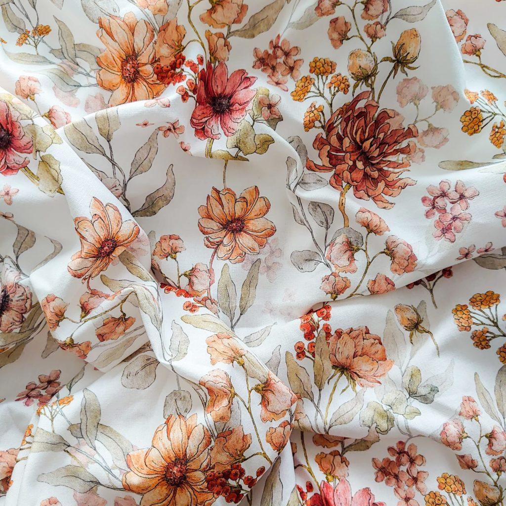 Baumwollstoff Herbstblüten
